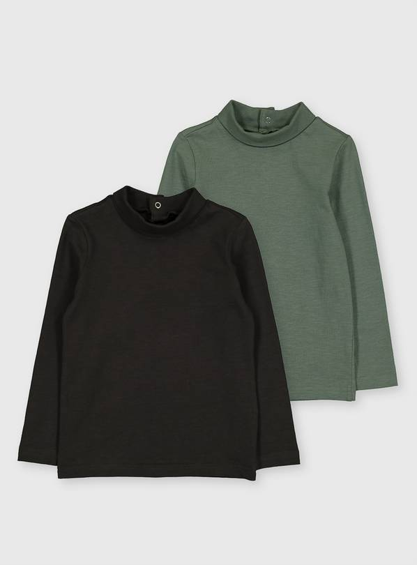 Green & Grey Roll Neck Top 2 Pack - 6-7 years