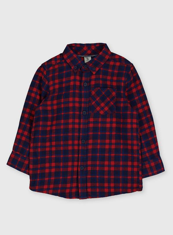 Red Check Button Through Shirt - 3-4 years