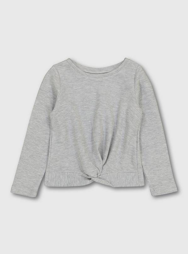 Grey Long Sleeve Waffle Texture Top - 11 years