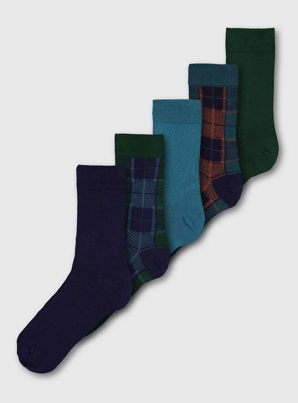 Check Stay Fresh Socks 5 Pack - 6-8.5