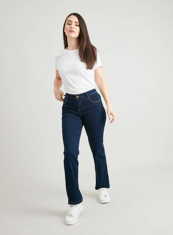 PETITE Dark Denim Straight Leg Jeans With Stretch - 14