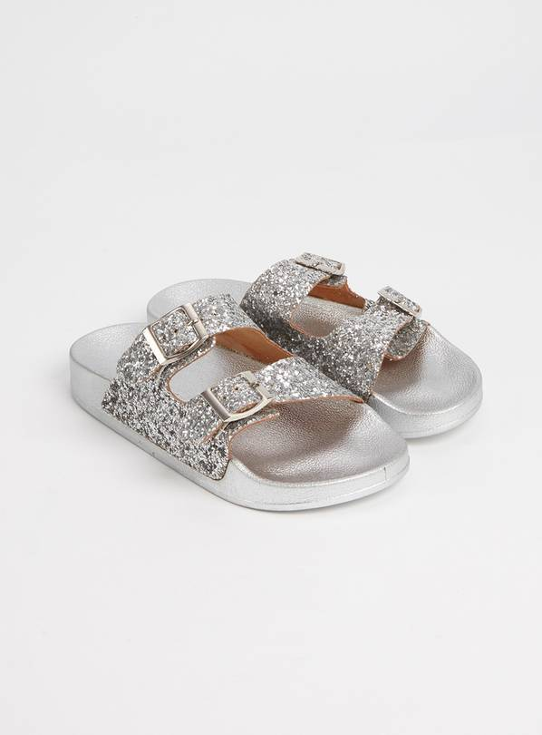 Silver Glitter Buckle Sliders - 11 Infant