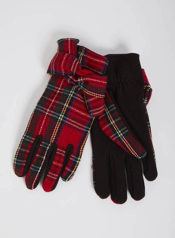 Red Tartan Check Gloves - One Size