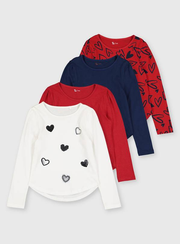 Heart Print Long Sleeve T-Shirts 4 Pack - 13 years