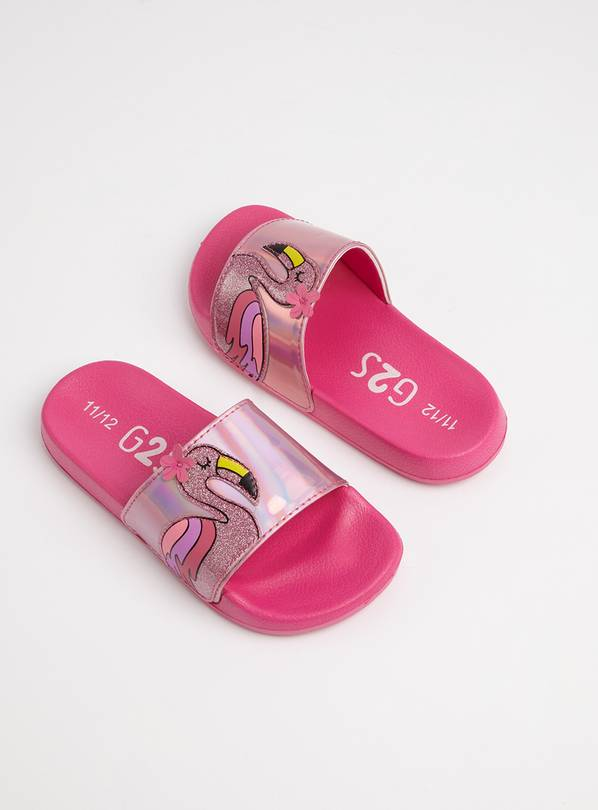 Pink Holographic Flamingo Sliders - 9-10