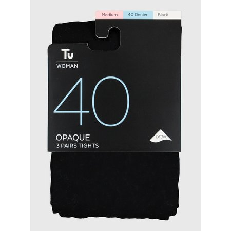 Black 40 Denier Opaque Tights 3 Pack - S