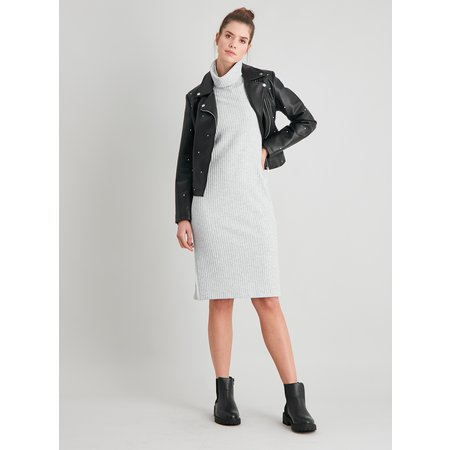 Grey Ribbed Roll Neck Dress - 14