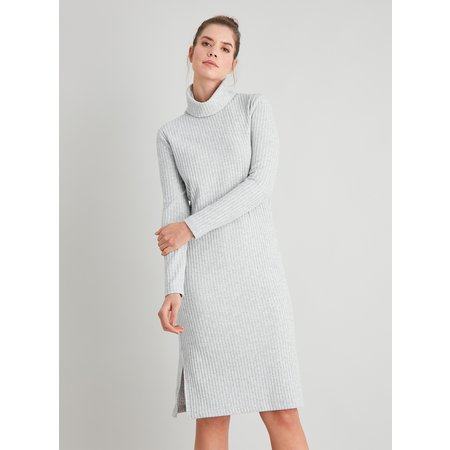 Grey Ribbed Roll Neck Dress - 22