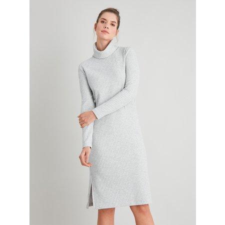 Grey Ribbed Roll Neck Dress - 24