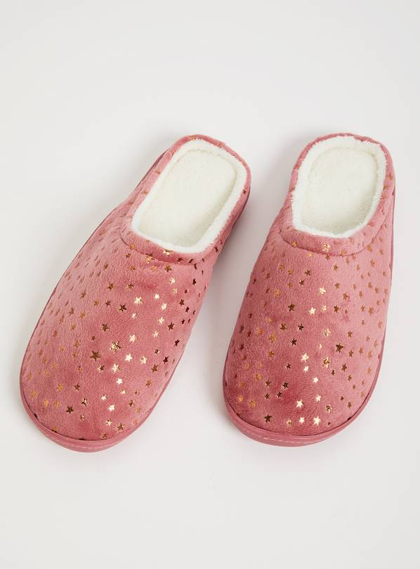 Pink Star Print Mule Slippers With Memory Foam - M