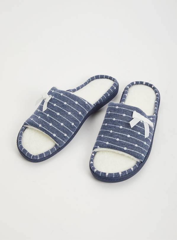 Navy Spot Open Toe Slider Slippers - S