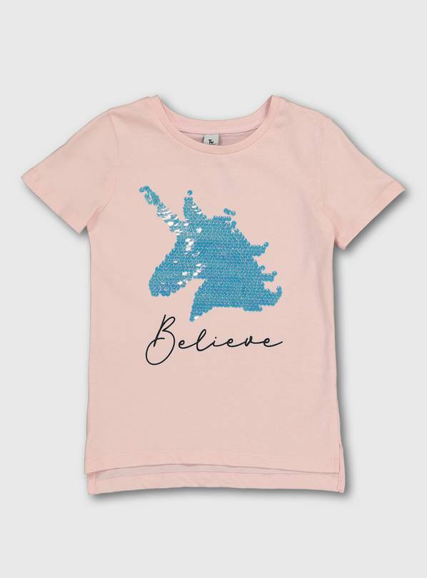 Pink 'Believe' Sequin Unicorn T-Shirt - 4 years