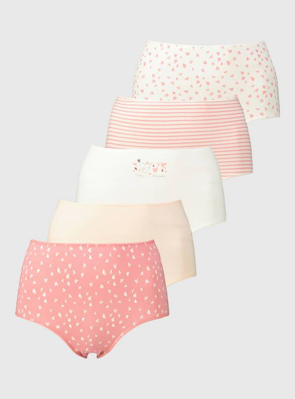 Pink Heart Full Knickers 5 Pack - 14
