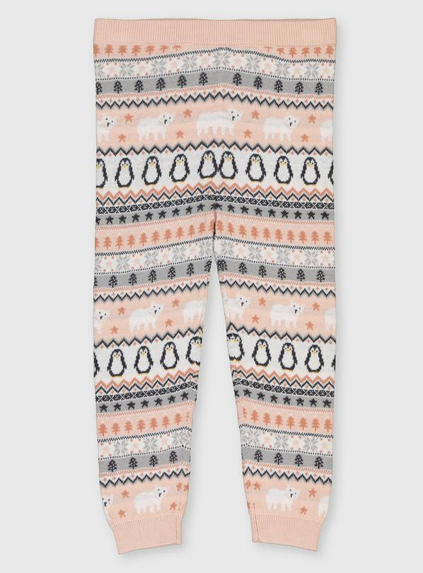 Fair Isle Penguin Knitted Leggings - 1-1.5 years