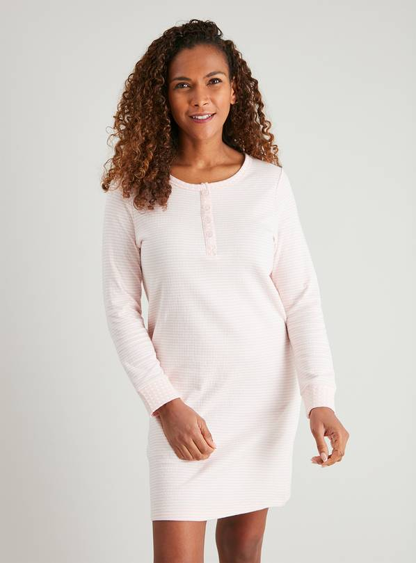 Pink Stripe Henley Nightdress - 16