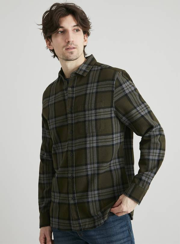 Green & Grey Check Regular Fit Shirt - XL