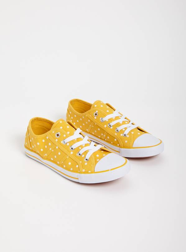 Yellow Spotted Canvas Eyelet Trainers - 8