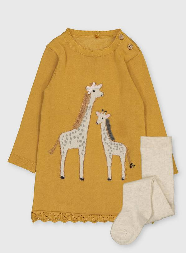 Yellow Giraffe Knitted Dress & Tights - 6-9 months
