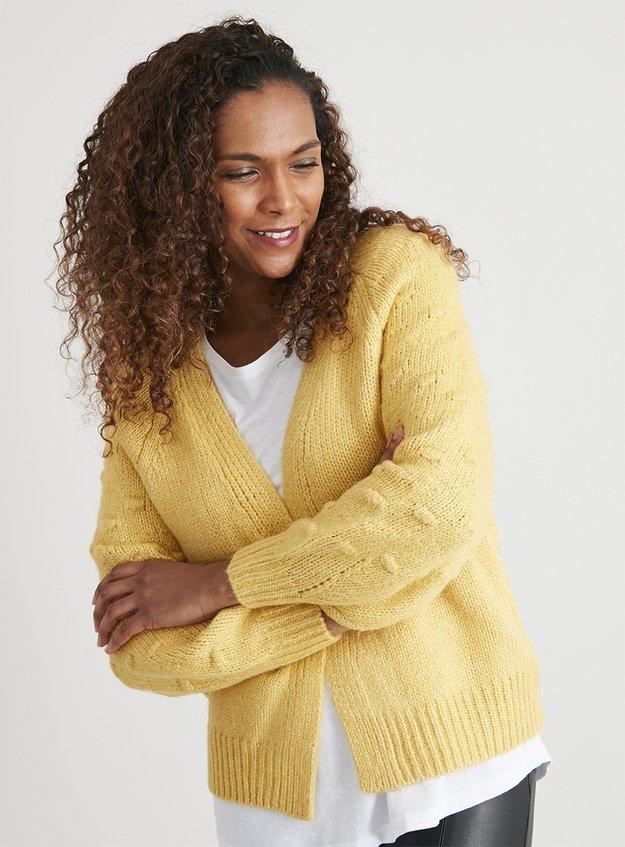 Yellow Bobble Knit Cardigan