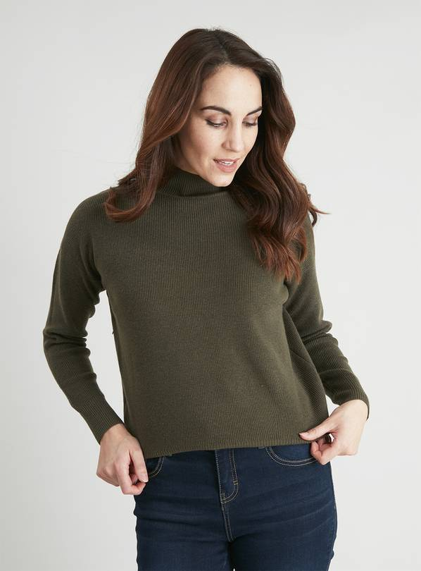 Khaki High Crew Neck Rib Jumper - 8