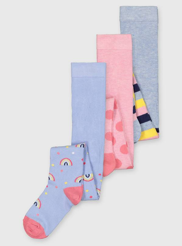 Rainbow Stripe & Spot Tights 3 Pack - 1-2 years