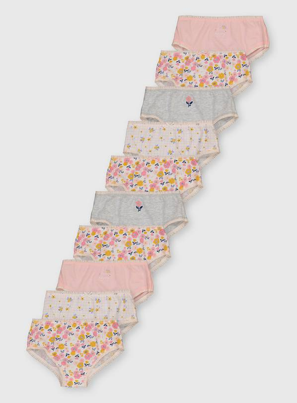 Floral Print 'Bee Happy' Briefs 10 Pack - 18-24 months