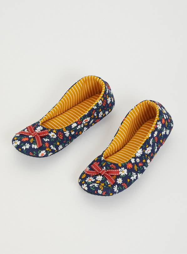 Navy Floral Print Ballerina Slippers - 8