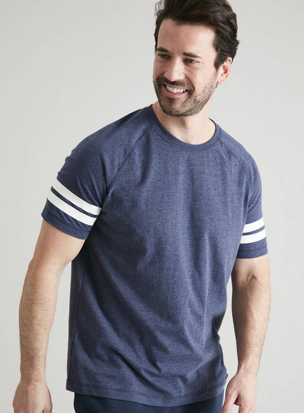 Blue Marl Raglan Stripe Lounge T-Shirt - XS