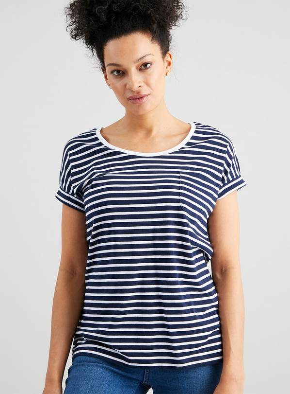 Navy Stripe Turn Cuff T-Shirt - 14