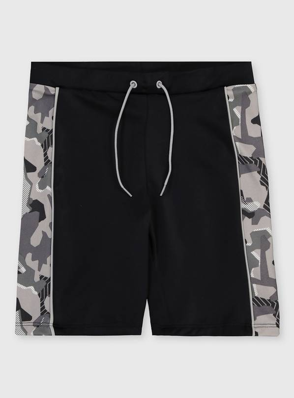 Black & Grey Camo Print Swim Shorts - 5 years