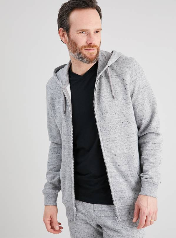 Grey Marl Zip Through Hoodie - XL