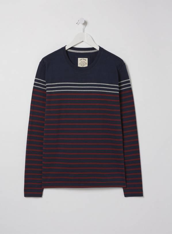 FATFACE Navy Stripe Long Sleeve Top - L
