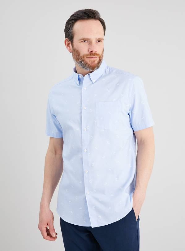 Blue Crocodile Print Regular Fit Oxford Shirt - M
