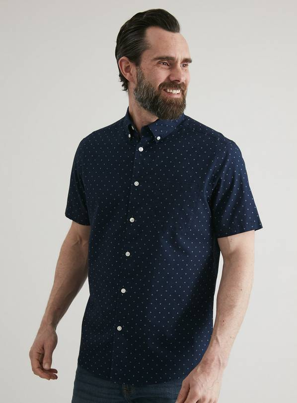 Navy Micro Print Regular Fit Oxford Shirt - XXXXL