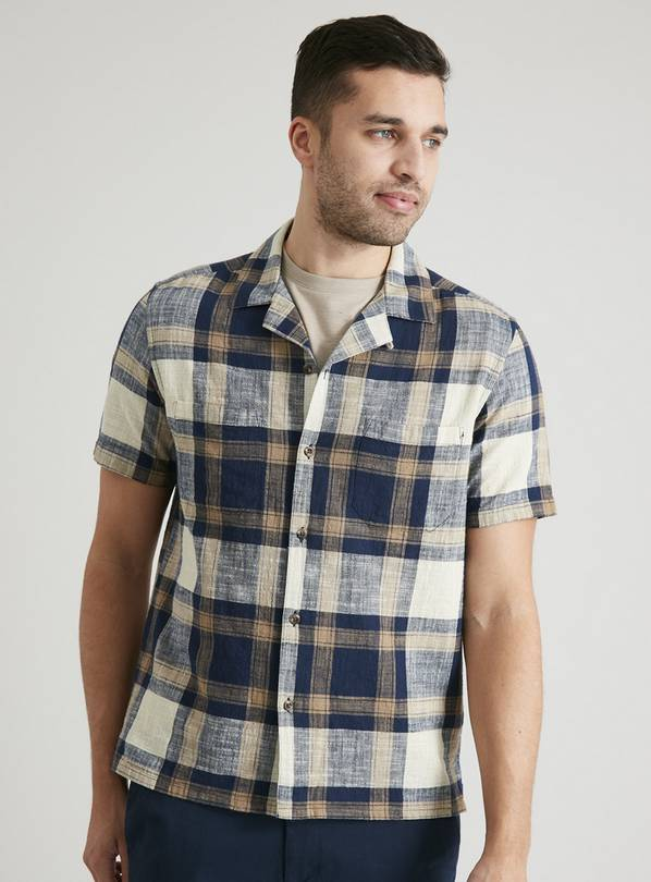 Navy & Stone Check Slub Short Sleeve Shirt - S