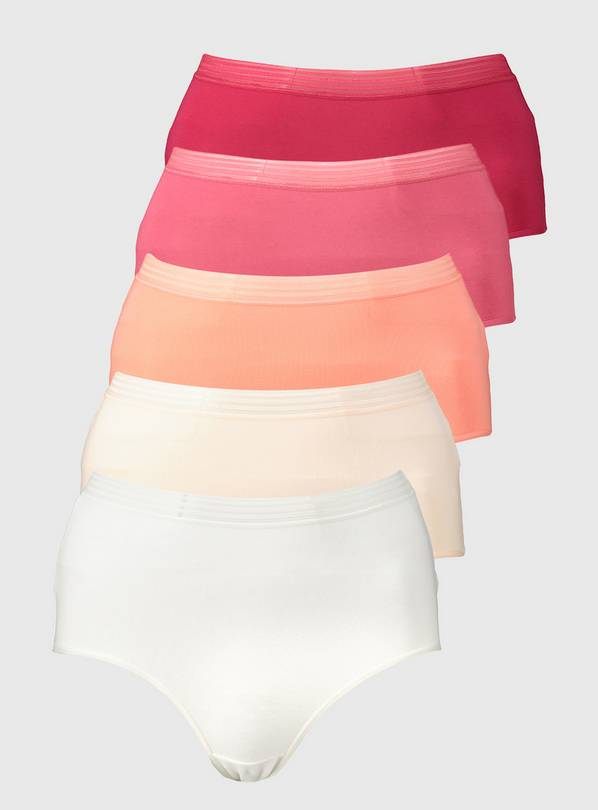 Pink Comfort Waistband Full Knickers 5 Pack - 12