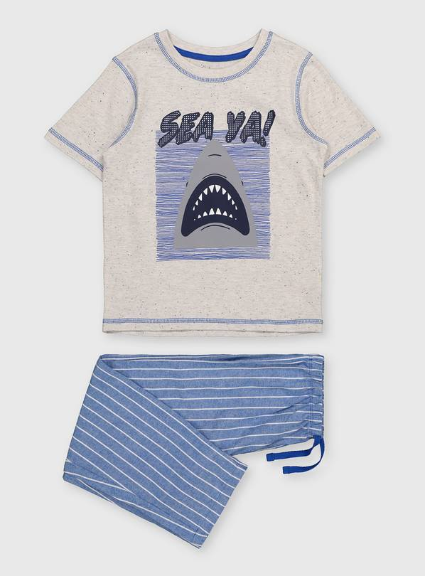 Blue & Grey Shark Pyjamas - 1.5-2 years