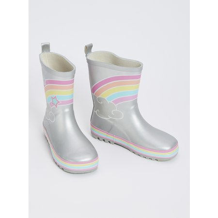 Silver Rainbow Wellies - 8 Infant