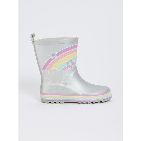 Silver Rainbow Wellies - 11 Infant