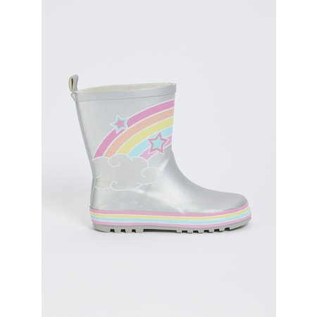 Silver Rainbow Wellies - 12 Infant