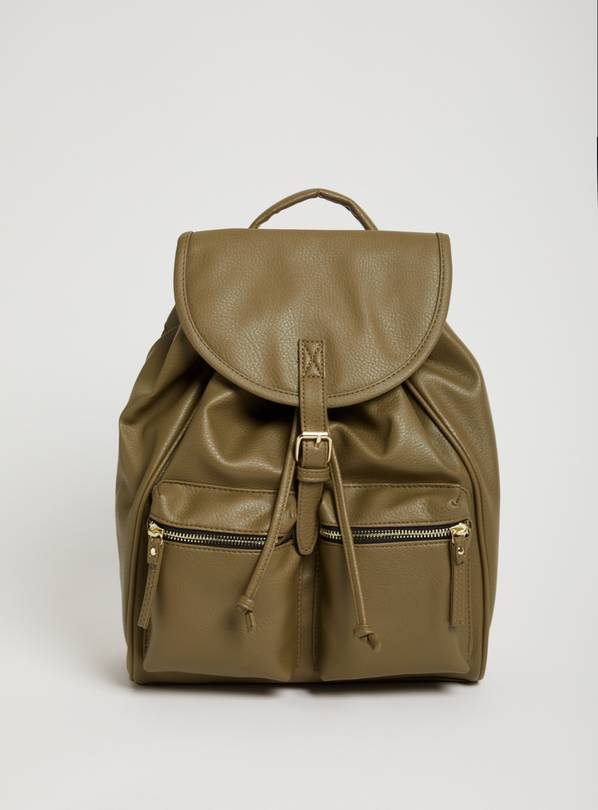 Khaki Faux Leather Backpack - One Size