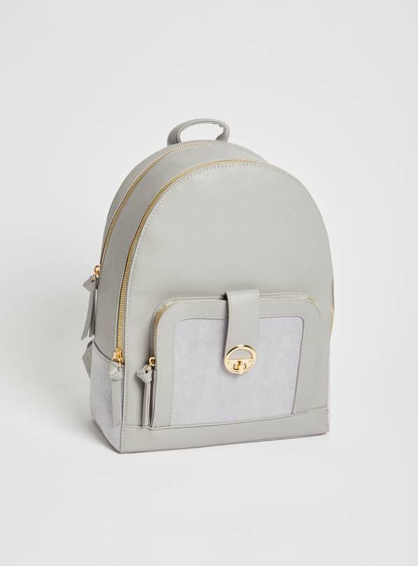 Grey Faux Leather Backpack - One Size