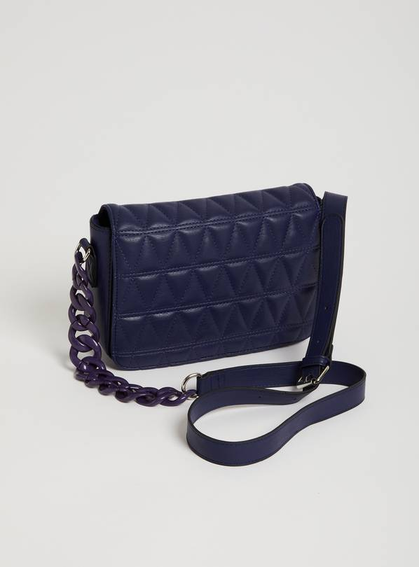 Navy Quilted Chain Detail Shoulder Bag - One Size