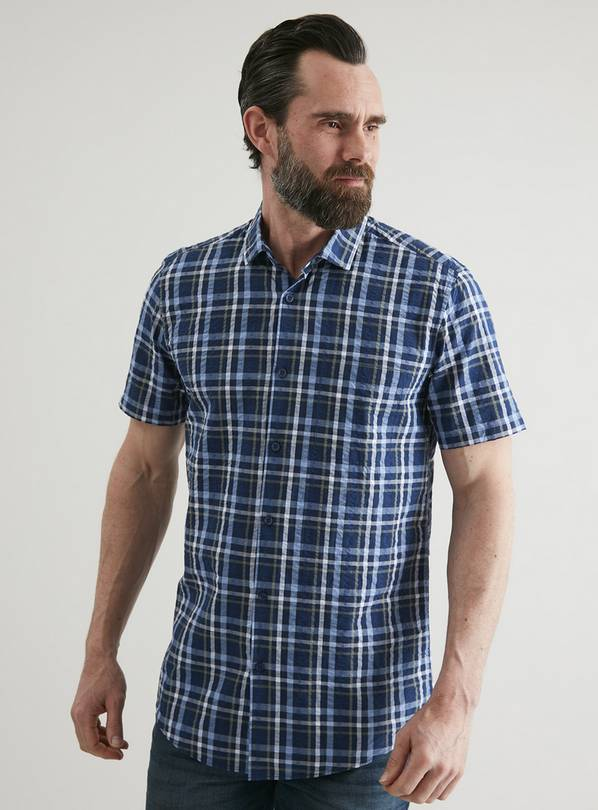 Navy Seersucker Check Regular Fit Shirt - M