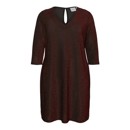 Red Glittery 3/4 Sleeve Dress - 14-16