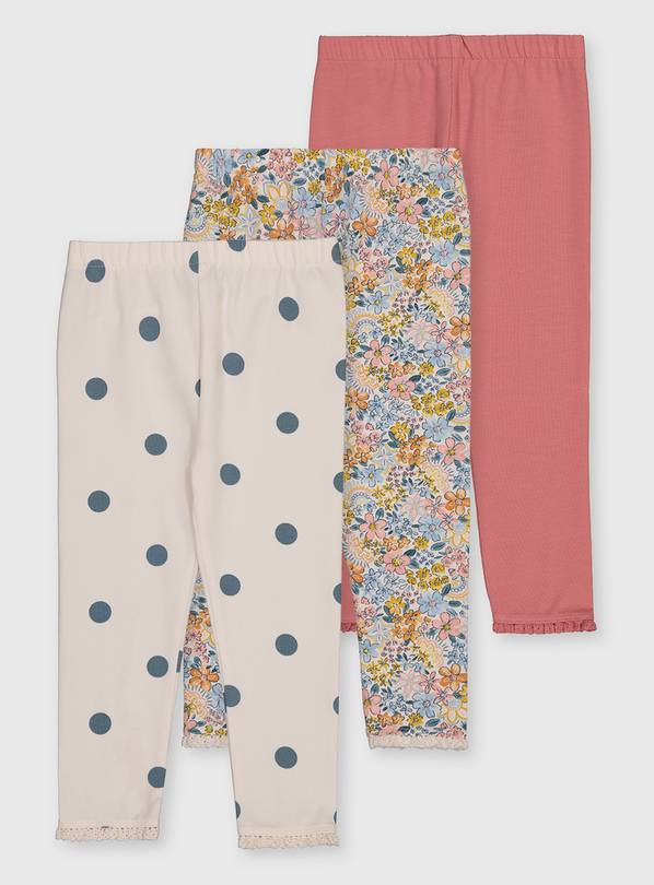 Floral Print Leggings 3 Pack - 1-1.5 years