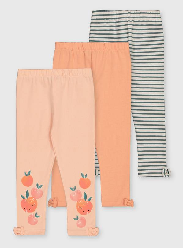 Peach & Stripe Leggings 3 Pack - 1.5-2 years