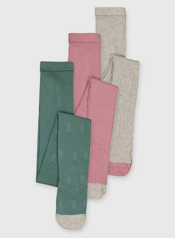 Oatmeal, Pink & Green Texture Tights 3 Pack - 1-2 years