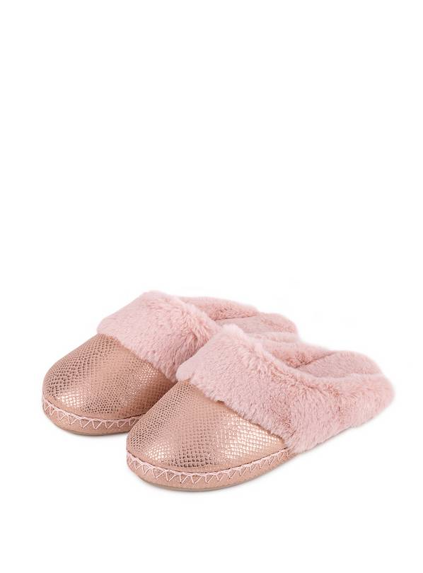 Pink Sparkle Snake Faux Suede Mule Slippers - L