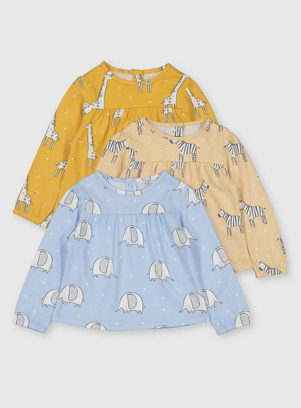 Jungle Animal Long Sleeve Top 3 Pack - 18-24 months